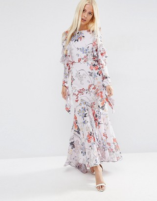 ASOS Cold Shoulder Long Sleeve Ruffle Maxi Dress In Gray Floral $103 thestylecure.com