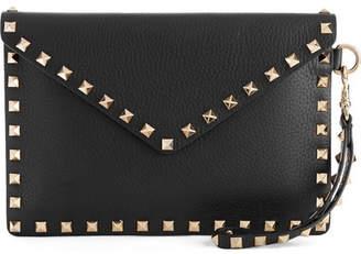Valentino Garavani The Rockstud Textured-leather Pouch - Black