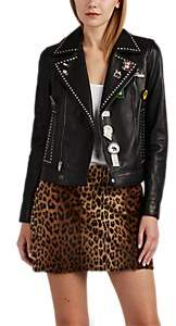 Saint Laurent Women's Embellished Leather Moto Jacket - Black
