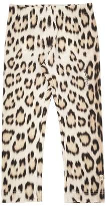 Roberto Cavalli Leopard Printed Cotton Jersey Leggings