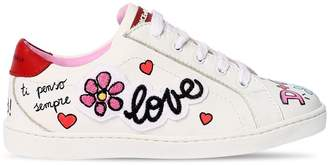 Dolce & Gabbana Graffiti Printed Leather Sneakers