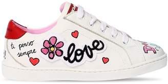 Dolce & Gabbana Graffiti Printed Leather Sneakers