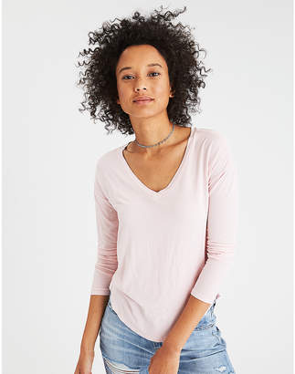 American Eagle AE Soft & Sexy Long Sleeve V-Neck T-Shirt