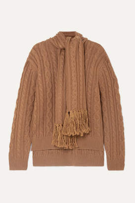 Mother of Pearl Draped Fringed Cable-knit Wool-blend Sweater - Camel