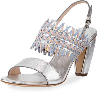 Rodo Woven Leather Slingback Sandals