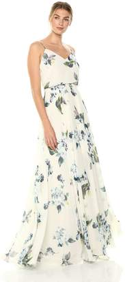 5b2beebbd0 Jenny Yoo Women s Inesse Thin Strap V Neck Long Floral Chiffon Gown