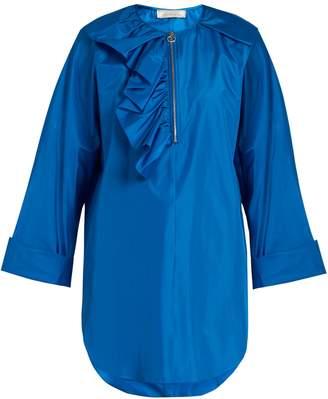 Nina Ricci Asymmetric half-ruffle silk-taffeta blouse