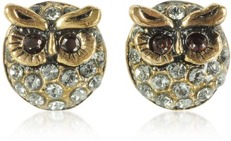 Alcozer & J Owl Earrings w/Crystals