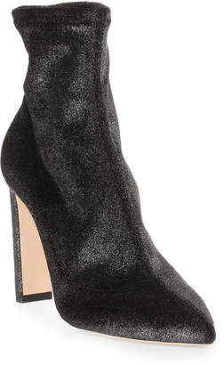 Jimmy Choo Louella 100 metallic velvet stretch boot