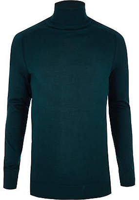 River Island Dark green slim fit roll neck sweater