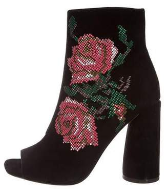 Donald J Pliner Embroidered Suede Peep-Toe Ankle Boots