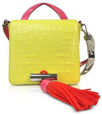 Kenzo Lemon Croco Embossed Leather Mini Sailor Bag W/fuchsia Oversized Tassel