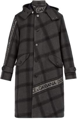 Dolce & Gabbana Logo Print Checked Wool Blend Coat - Mens - Grey