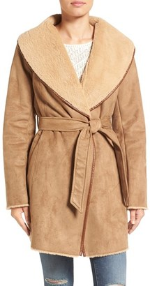 Women's Ellen Tracy Faux Shearling Wrap Coat $280 thestylecure.com