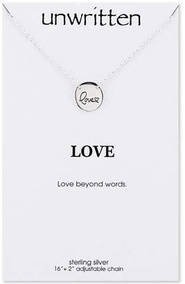 """Unwritten Love"""" Engraved Disc Pendant Necklace in Sterling Silver"""