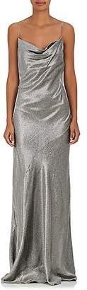 Barneys New York Women's Silk-Blend Lamé Sleeveless Gown - Silver