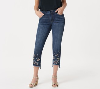 Laurie Felt Classic Denim Stiletto Jeans with Floral Embroidery