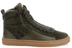 Bally Hekem Shearling-Lined Suede High-Top Sneakers