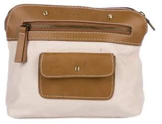 Chloé Leather-Trimmed Canvas Pouch