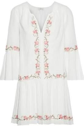 Joie Jarette Embroidered Crinkled Cotton-gauze Mini Dress