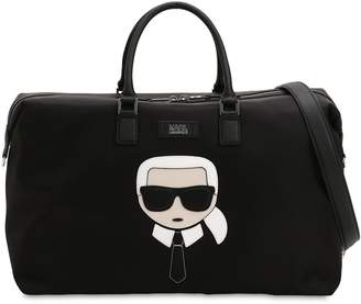 Karl Lagerfeld K/Ikonik Patch Nylon Weekender Bag