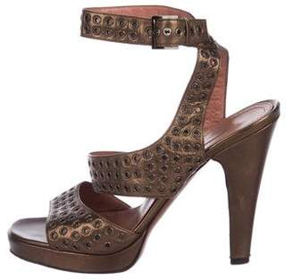 Alaia Leather Grommet Sandals