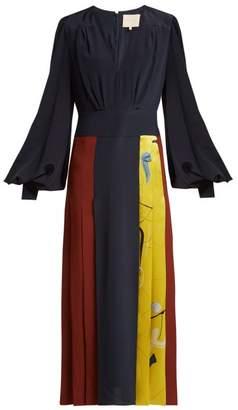 Roksanda - Teruko Abstract Panel Silk Dress - Womens - Blue Multi