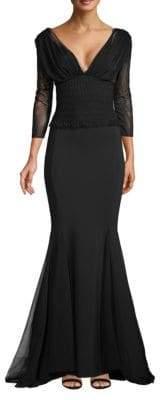 Chiara Boni Smocked Illusion Gown