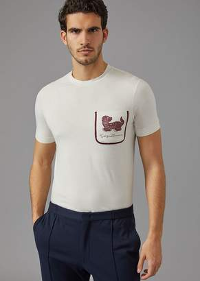 Giorgio Armani T-Shirt In Stretch Jersey With Print