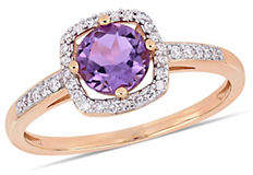 HBC CONCERTO 10K Rose Gold and Amethyst Birthstone Halo Ring with 0.14 TCW Diamond