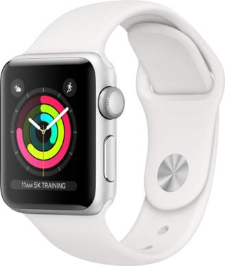 Apple AppleWatch Series3 GPS, 38mm Silver Aluminum Case with White Sport Band
