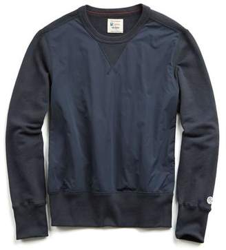 Todd Snyder + Champion Nylon Front Panel Sweatshirt in Navy