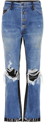 Amiri Leather-trimmed cropped jeans