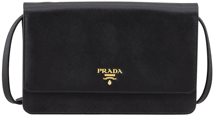 Prada Saffiano Wallet Crossbody, Black (Nero)