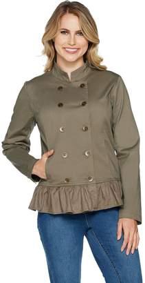 Denim & Co. Studio by Double Breasted Ruffle Hem Long Sleeve Jacket