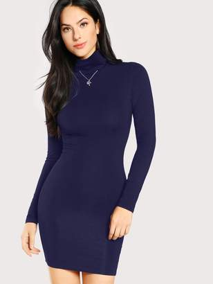 Shein Turtle Neck Form Fitting Solid Dress