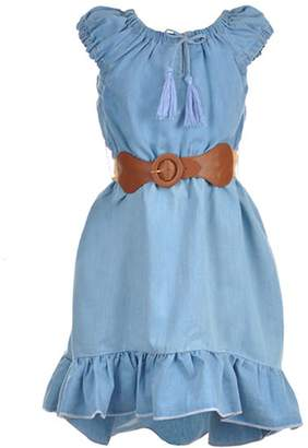 "Dollhouse Big Girls' ""Ruffled Chambray"" Belted Hi-Low Dress - , 7-8"