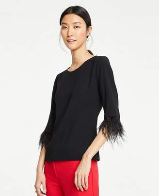 Ann Taylor Petite Feathered Cuff Top