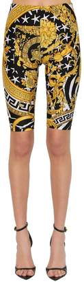 Versace PRINTED STRETCH JERSEY BIKER SHORTS