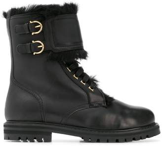 Salvatore Ferragamo fur trim military boots