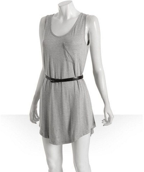 Wyatt heather grey jersey belted tank dress
