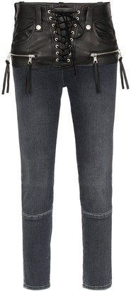 Unravel Project stonewash lace up skinny jeans