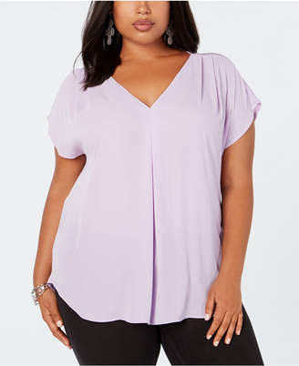 INC International Concepts I.n.c. Plus Size Mixed-Media Dolman-Sleeve Top, Created for Macy's