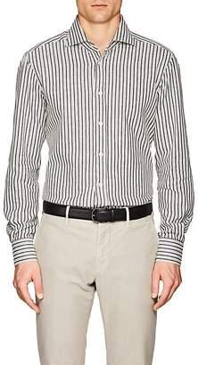 Kiton Men's Striped Cotton Flannel Shirt