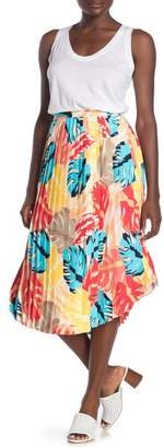 Laundry by Shelli Segal Tropical Leaf Pleated Midi Skirt