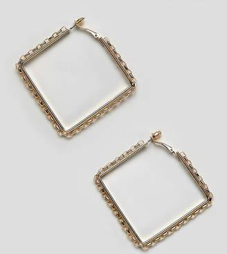 DesignB London oversized gold square chain hoop earrings