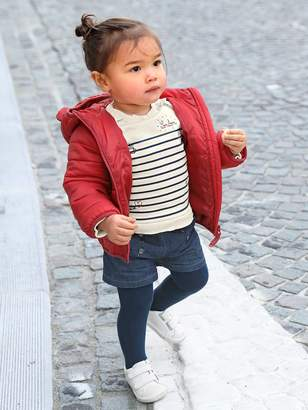 Vertbaudet Outfit for Baby Girls: Striped, Embroidered Sweatshirt & Denim Shorts