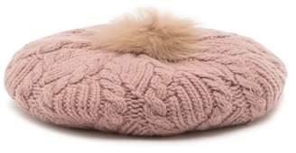 Helen Kaminski Beryl Genuine Fox Fur Trimmed Classic Beret
