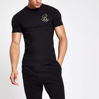River Island Mens Black R96 muscle fit T-shirt