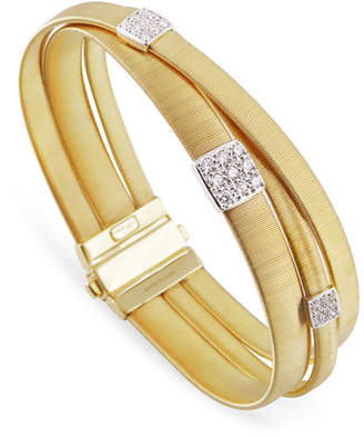 Marco Bicego Masai 18K Yellow Gold Three-Strand Bracelet with Diamond Stations